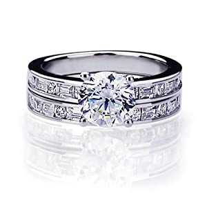 Sterling Silver Beautiful Ring Set, 2 Carat Simulated Diamond engagement ring sets ( Size 5 to 9) Size 5