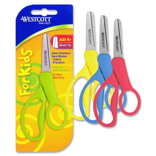 Westcott School Left And Right Handed Kids Scissors, 5-Inch, Blunt, Colors Vary (13130)