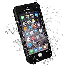 buy Hesgi Iphone 6S Plus Waterproof Case, Ip-68 Waterproof Shockproof Dust Proof Snow Proof Full Body Protective Case Cover For Apple Iphone 6S Plus Iphone 6 Plus 5.5[Black]