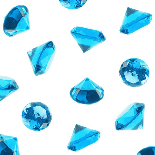 Acrylic Color Faux Round Diamond Crystals Treasure Gems for Table Scatters, Vase Fillers, Event, Wedding, Birthday Decoration Favor, Arts & Crafts (1 Pound, 240 Pieces) by Super Z Outlet® (Turquoise) (Plastic Blue Gems compare prices)