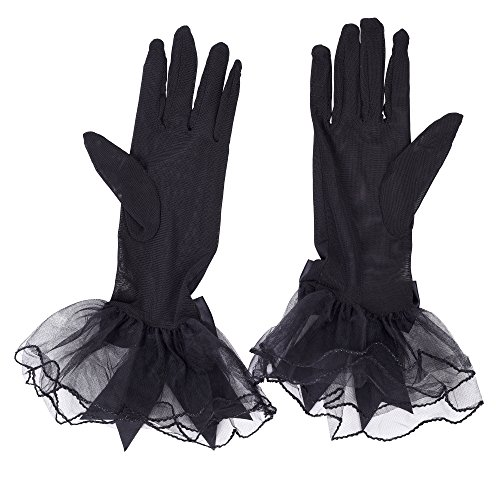 Kloud City Women Bridal Short Gloves Lace Bow Wrist Ruffle Wedding Banquet Party