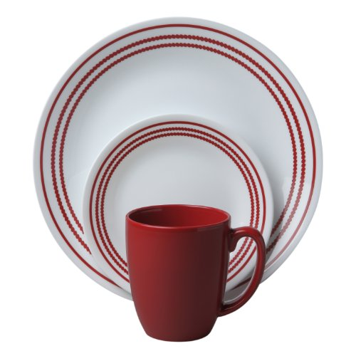 Corelle Livingware 16 piece Dinnerware Set, Service for 4, Ruby Red