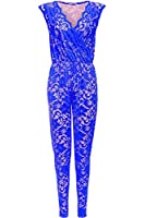 Womens Ladies Full Lace Net Sleeveless All In One Floral Piece Jumpsuit Dress