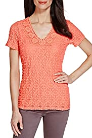 V-Neck Floral Lace Top [T62-5816I-S]