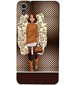 PrintDhaba Smart Girl D-1359 Back Case Cover for HTC DESIRE 728 (Multi-Coloured)