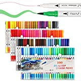 Dual Tip Marker Pens 100 Colors, Magicfly Watercolor Dual Brush Pen with Fineliner Tip 0.4 and Highlighters Brush Tip(1mm-2mm) For Coloring, Art, Sketching, Calligraphy, Manga, Bullet Journal