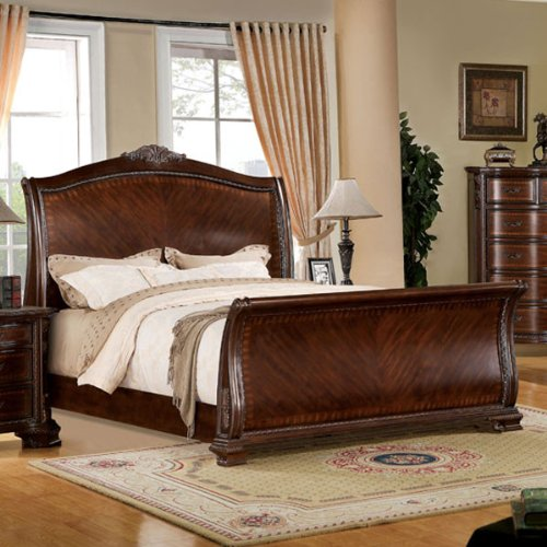 Penbroke Antique Baroque Style Brown Cherry Finish Queen Size Bed Frame Set front-977151