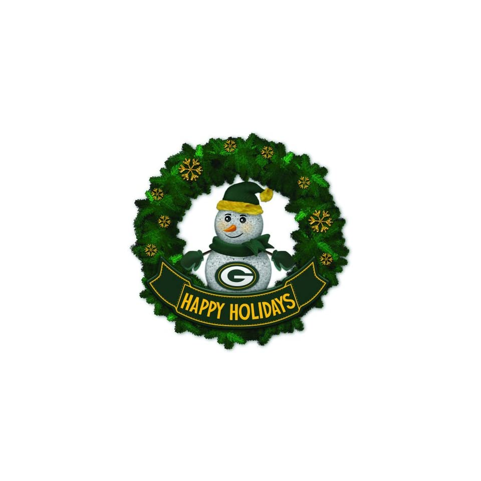 15 NFL Green Bay Packers Lighted Snowman Artificial Christmas Wreath
