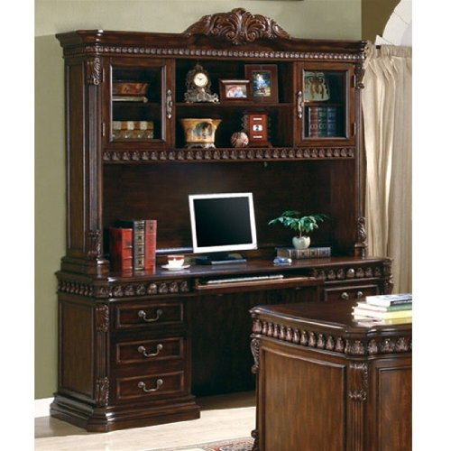 Buy Low Price Comfortable Traditional Home Office Computer Desk with Hutch in Rich Brown Finish – Coaster Co. (B003XR62K4)