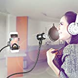 Neewer® Microphone & Phone Stand kit for Internet Karaoke/Phone Karaoke/MV Recording or More, includes: Microphone Holder, Pop Filter, Phone Holder Clip, Table Clamp and 2 Metal Goosenecks