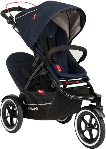 Phil & Teds Inline Midnight Compact Navigator Child Stroller W/ Double Kit