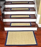 Dean Non-Slip Tape Free Pet Friendly Stair Gripper Natural Fiber Sisal Carpet Stair Treads - Desert/Navy Blue 29