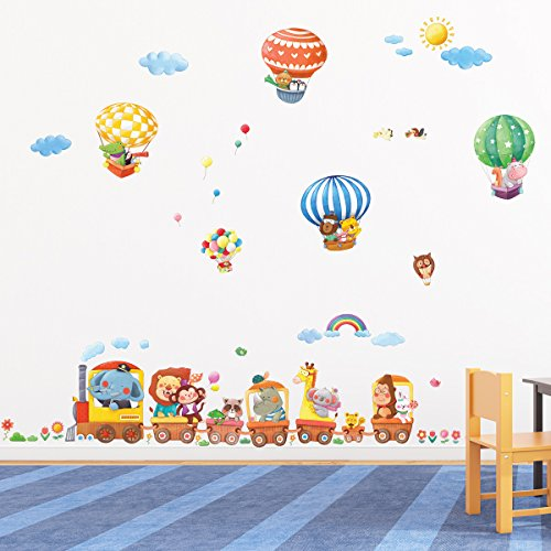 Decowall, DM-1406, Animal Train and Hot Air Balloons Wall Stickers
