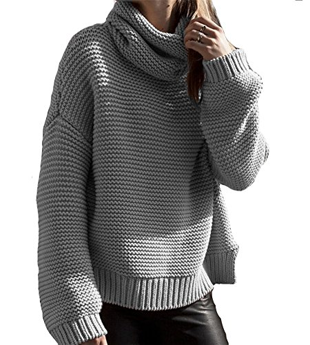 Oyanus Women's Loose Cowl Neck Chunky Cable Knit Pullover Top Sweater Jumper Gray M (Gray Cowl Neck Sweater compare prices)