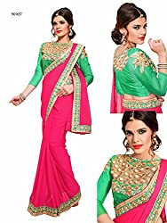 Gokul Vastra Georgette Saree (Pack of 9) (TL-90027_9_Pink)