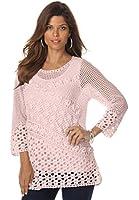 Roamans Women's Plus Size Floral Crochet Pullover