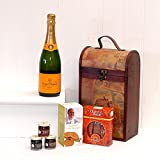 The Clarendon Vintage Wooden Wine Chest Hamper with 750ml Veuve Clicquot Yellow Label Champagne Brut