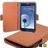 """UTECTION BASIC """"Wallet"""" Samsung Galaxy S3 Kunstleder Tasche mit Kartenfächern   Hellbraun Beige Cognac"""