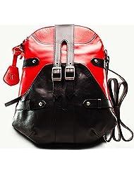 Twach Bohemian Cross Body Leahter Bag (Red Black)