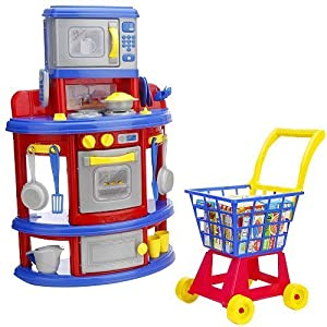 just like home my very own kitchen and shopping cart playset made in usa toys games. Black Bedroom Furniture Sets. Home Design Ideas