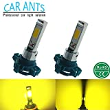 Car Ants Auto Parts 12/24V Extremely Super Bright COB Chips PY24W, LED Turn signal streering Light Bulbs, Plug-n-Play Golden Yellow Color(PY24W)(pack of 2)