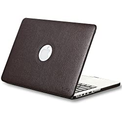 Kuzy Leatherette Hard Case with Retina Display for MacBook Pro 13.3 inch Models A1502 and A1425 [BROWN]