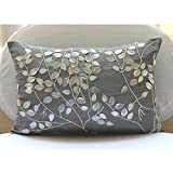 Leafy Magic - 12x20 inches Rectangle/Lumbar Decorative Throw Silver Silk Pillow Covers with Mother Of Pearl & Leather Embroidery