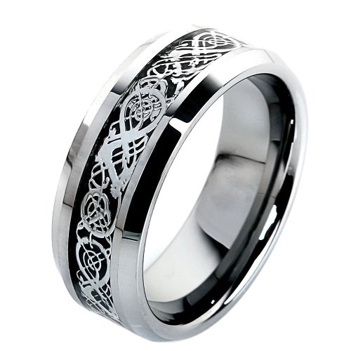 fibo steel 8mm tungsten carbide wedding rings celtic dragon silver