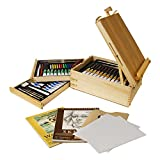US Art SupplyÃ'® 95-Piece Wood Box Easel Painting Set - 12-tubes of Oil Colors, 12 Oil Pastels, Plastic Palette Knife, 3 Assorted Oil Painting Brushes, 2-ea 8