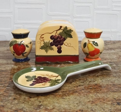 Tuscany Garden Colorful Hand Painted Mixed Fruit, 4Pc Stove Top Set, 89225/28 By Ack front-279441