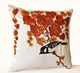 "Decorative Throw Pillow Case with Colorful Orange Leaves and Bird Embroidered in Sequins and Beads on Ivory Faux Silk - Wedding Anniversary Birthday Housewarming Mother's Day Gift Inspired By Traditional Japanese Design (16"" x 16"")"