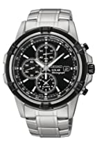 Seiko Solar Black Dial Chronograph Stainless Steel Mens Watch SSC147