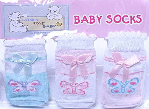 Coney Island Newborn Baby Girls Butterfly Socks Set Of 3 back-1052403