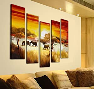 Sangu 5-Piece Open Plain Elephants for Landscapes Oil Painting Gift Canvas Wall Art