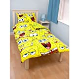 Childrens/Kids SpongeBob SquarePants Reversible Quilt/Duvet Cover Bedding Set (Double Bed) (Yellow)
