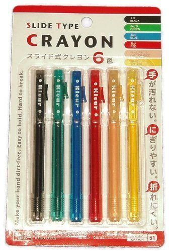 Daiso Japan Slide Type Push-up Crayons (6 Colors) Retractable with Clip - 1