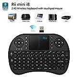 Rii i8 2.4GHz Wireless Kabellose Mini Tastatur Ergonomische mit Touchpad-Maus und Ersatz Wiederaufladbare Li-ion Batterie für Smart TV