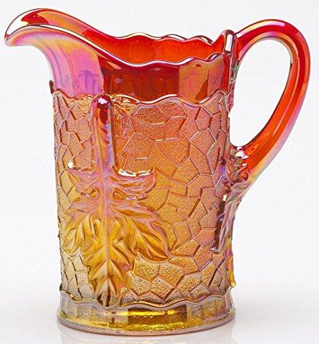 Water Pitcher Maple Leaf Pattern Mosser Glass - Marigold Carnival Marigold Carnival Glass