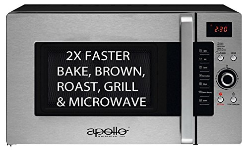 HOLIDAY SALE! Apollo Half Time Convection Microwave. More Than a Microwave. Bake, Brown, Roast, Grill, 2X Faster. 1.2 Cu.Ft.,1600- Watts. Best Warranty-3 Years (Small Microwave Convection Oven compare prices)