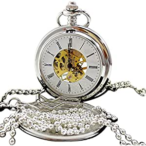 [モノジー] MONOZY - 鏡面白銀 - 手巻き 機械式 懐中時計 両面蓋 両面 スケルトン 【フックチェーン・ネックレスチェーン・収納袋・化粧箱 5点セット】 アンティーク ホワイト シルバー ダブル クラムシェル