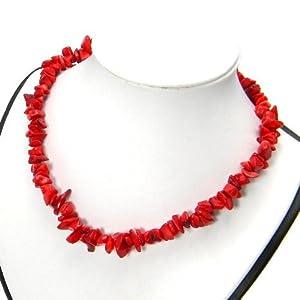 Kette Halskette Koralle Bambuskoralle rot Steinschmuck 41cm
