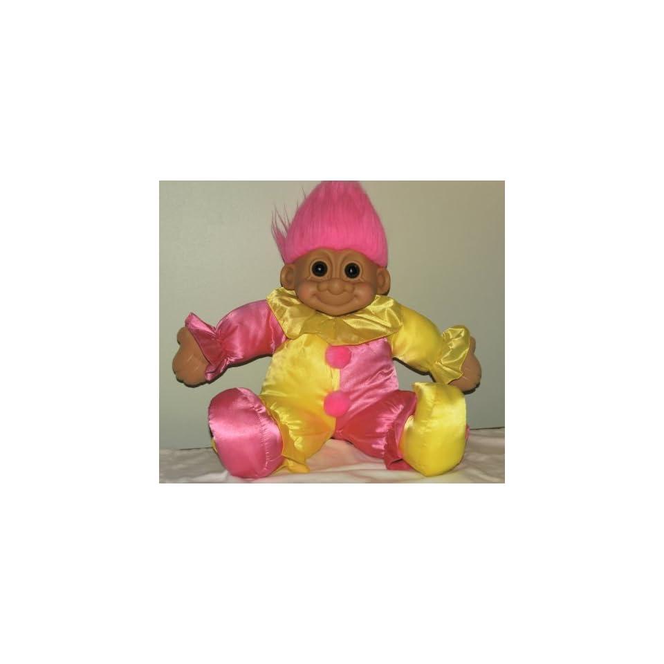 Russ Lucky GIANT 23 CLOWN Plush Troll Doll (Pink Yellow 23x24x7)