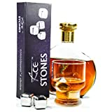 ACE Whiskey Stones - Rock Your Party With Stylish Reusable Stainless Steel Ice Cubes! Chill Your Whiskey Fast Without Dilution. Set of 4 Metal Wine Accessories Comes In Classy EVA Gift Box