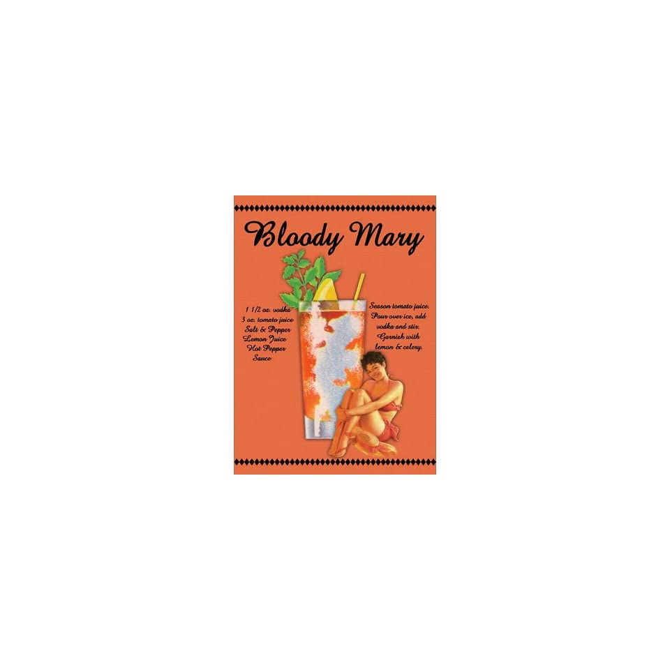 Bloody Mary Drink Recipe Sexy Girl Retro Vintage Tin Sign