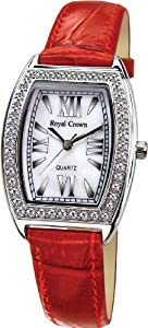 Gemorie Red Genuine Leather Fashion Watch with Cubic Zirconia in Rhodium Plating (128949)
