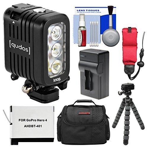 Knog Qudos Action Camera LED Video Light (Black) with Case + AHDBT-401 Battery & Charger + Flex Tripod + Float Strap + Kit for HERO 4