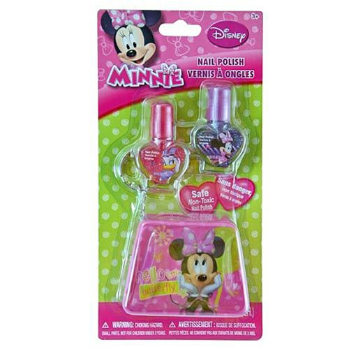 Disney Minnie Mouse Cosmetic Sparkly Nail Polis Kit with 2 Nail Polishes and 1 Keychain Pouch
