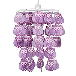 Modern Feathered Cartoon Owl Droplet Ceiling Pendant Children's Bedroom / Nursery Cot Mobile Light Shade from MiniSun