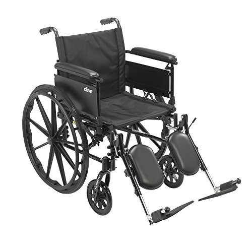 Drive Medical Cruiser X4 Lightweight Dual Axle Wheelchair with Adjustable Full Arms Seat with Elevating Leg Rests, Silver Vein, 16 Inch (Carbon Wheelchair compare prices)