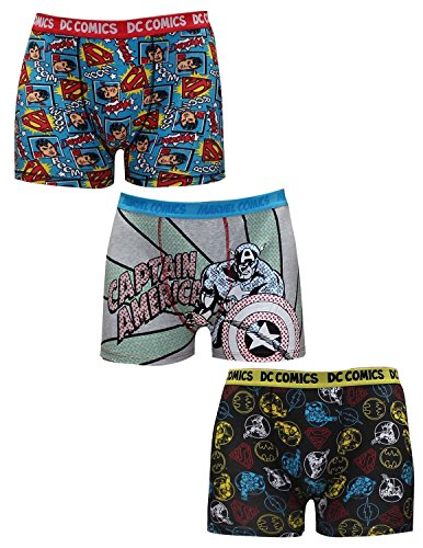 Pack-of-3-Hommes-SUPERMAN-CAPTAIN-AMERICA-DC-COMICS-FLASH-Boxer-Shorts
